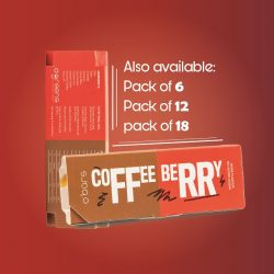 O'Greens - Coffee Berry Energy Protein Bars (Sugar Free and Gluten Free), 50g, 6 Pcs