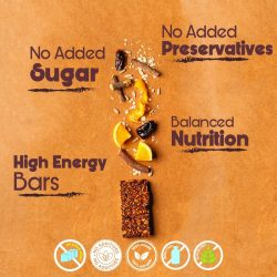 O'Greens - Chocolate Orange Energy Protein Bars (Sugar Free and Gluten Free), 50g, 6 Pcs