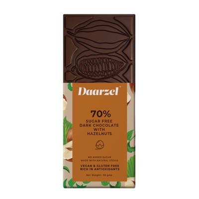 Ambriona - 70% Dark Chocolate With Hazelnuts, Sugar free, 50g